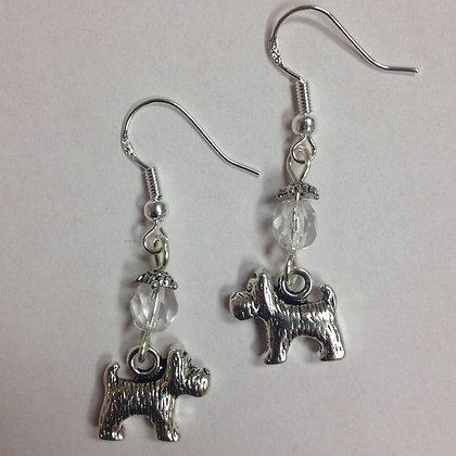 Terrier Dog Breed Earrings, Scottie, Yorkie, Small Breed Earrings, with clear cr