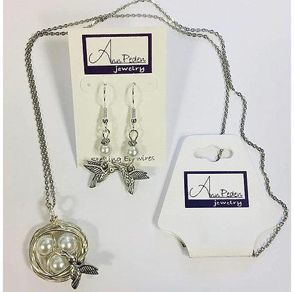 Hummingbird Nest Necklace & Earring Set
