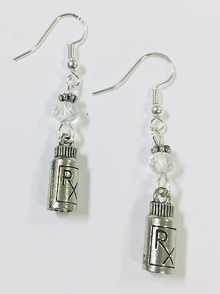 Rx Pill Bottle Pharmacy or Pharmacist Earrings, with clear faceted crystal accen