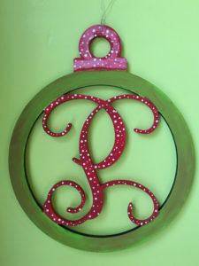 Christmas Ornament Vines Font Initial Wooden Cut Out