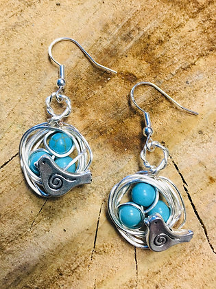 Bird Nest Earrings with Turquoise Stone Accent Beads on Sterling Silver Earwires