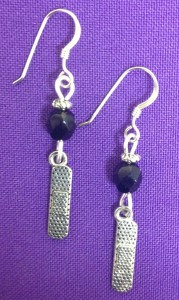 Bandaid Earrings on Sterling Earwires with Jet Crystal Accent Beads