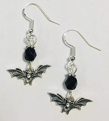 Bat Earrings, Halloween Earrings, with jet crystal accent beads, on sterling sil