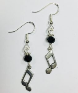 Music Eighth Note Musician Themed Earrings, on Sterling Silver Earwires
