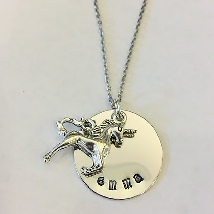 Unicorn with HandStamped Name Pendant on 18in Chain