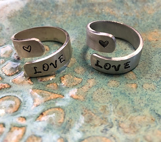 Adjustable Hand-Stamped Ring in both aluminum ($8) and sterling silver ($24)