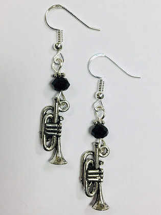 Trumpet Musician Earrings with jet crystal faceted accent beads