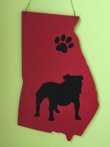 State of Georgia with Paw Print and Dog Wooden Cut Out