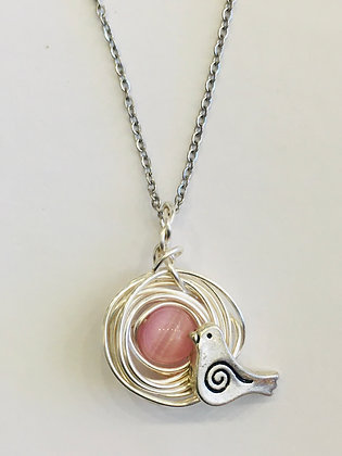 Bird's Nest Pendant with your choice of Pink/Blue Eggs