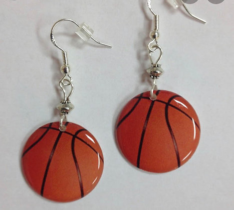 HandPoured Basketball Earrings