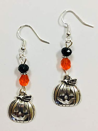 Halloween or Fall Pumpkin Earrings, On Sterling Silver Earwires
