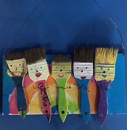 Make a Paintbrush Family together!  This is one of our favorite projects and a great activity for the family to do together!! Paint a wooden board then paint 5 paintbrushes to represent family members or pet