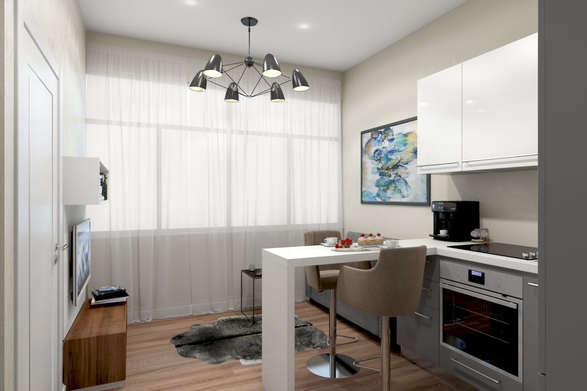Studio Apartment 3D Render