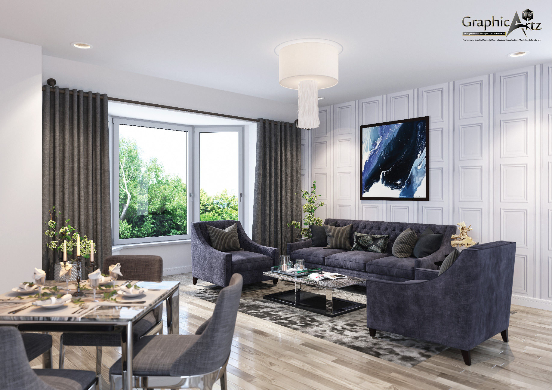 Living and Dining Area CGI