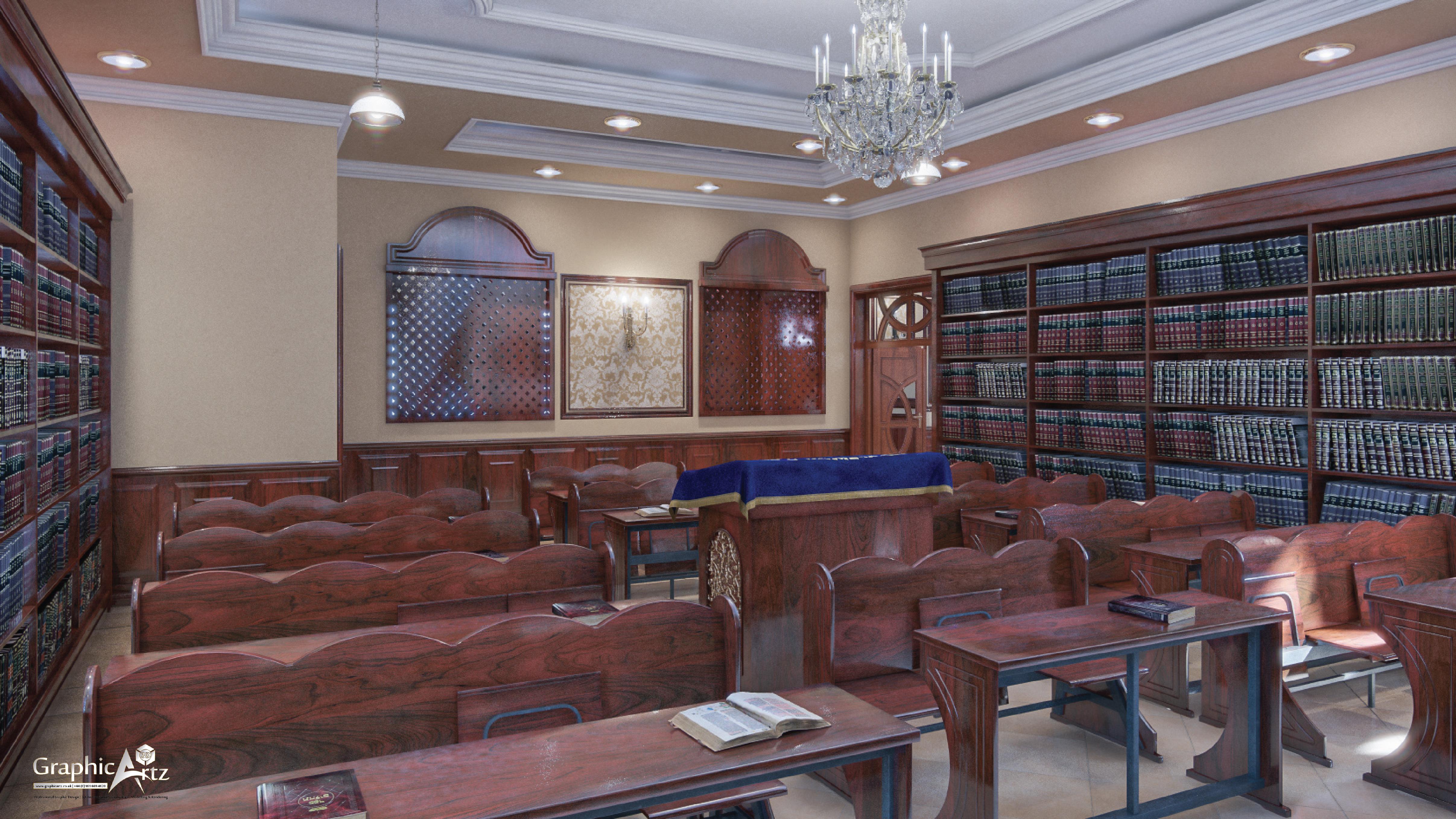 Buhush Beis Hamedrash Interior CGI veiw 3