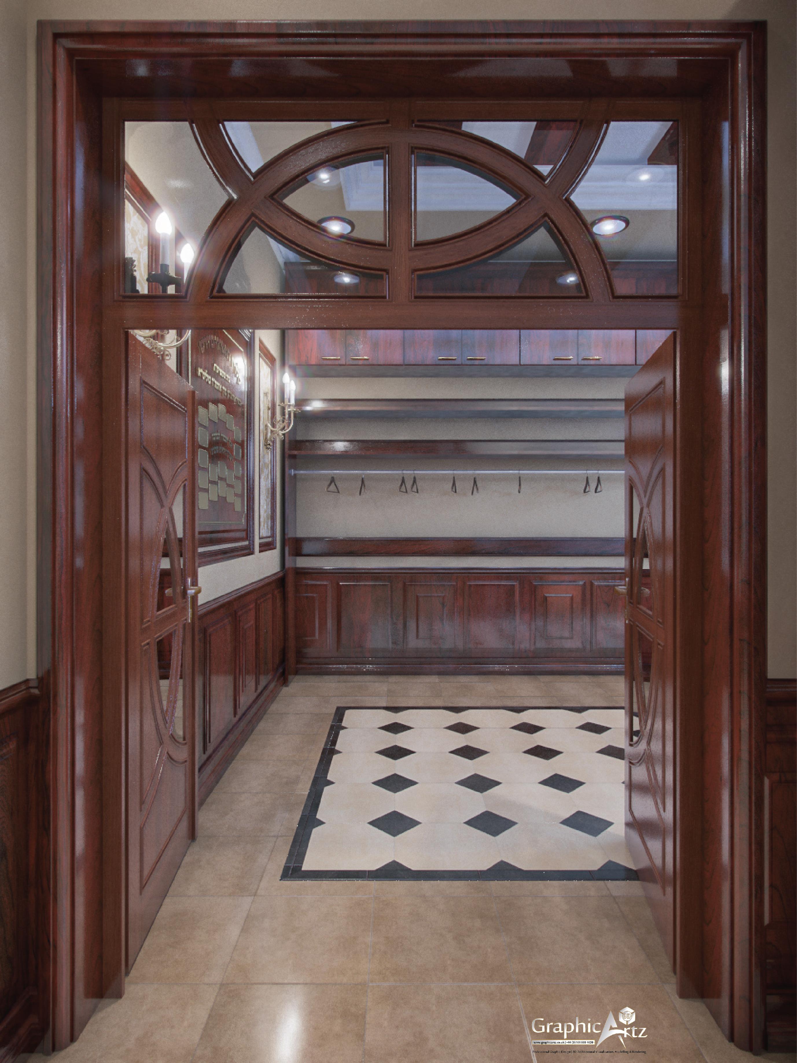 Buhush Beis Hamedrash Interior CGI doors