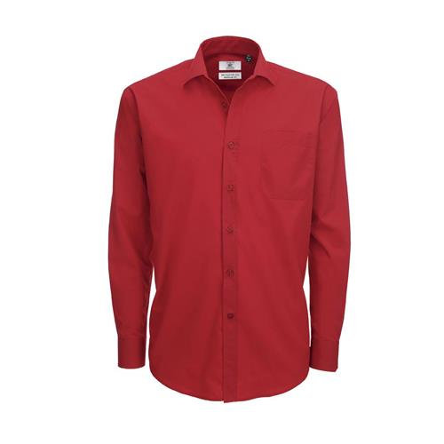 Camisa B&C Smart manga comprida Homem - 65% Poliéster/ 35% Algodão escovado - Po