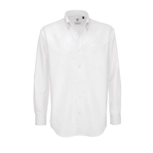 Camisa B&C Oxford manga comprida Homem - 70% Algodão escovado/ 30% Poliéster