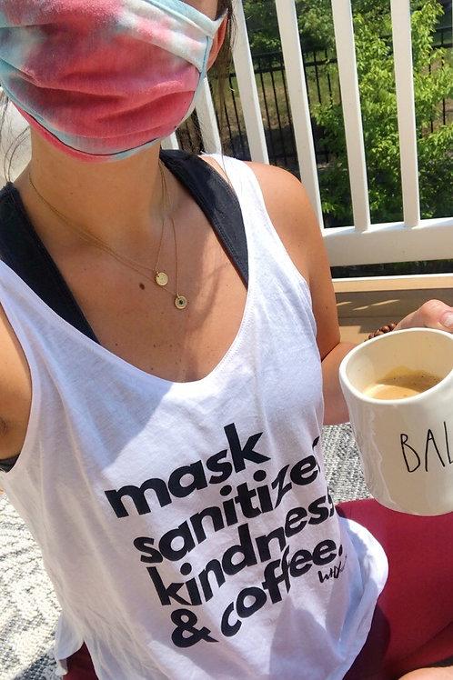 mask, sanitizer, kindness & coffee flowy slit tank