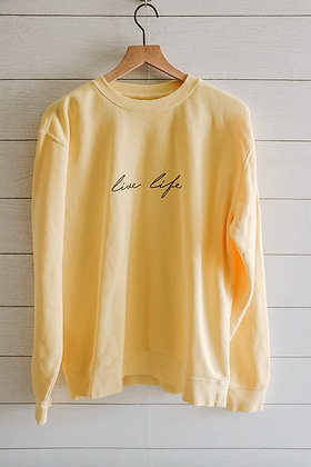 live life Summer Crewneck (Pale Yellow)