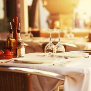Empty outdoor restaurant table at sunset.jpg