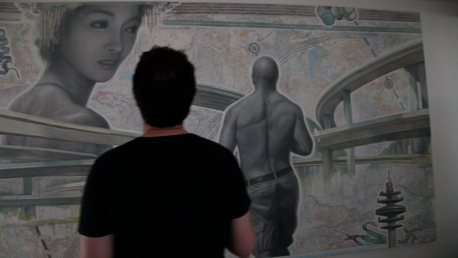 Teacher completing work of art