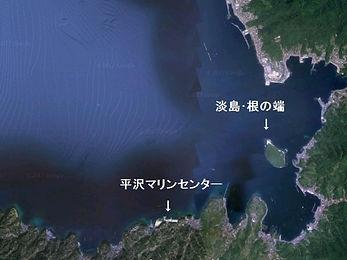 平沢から淡島への経路図