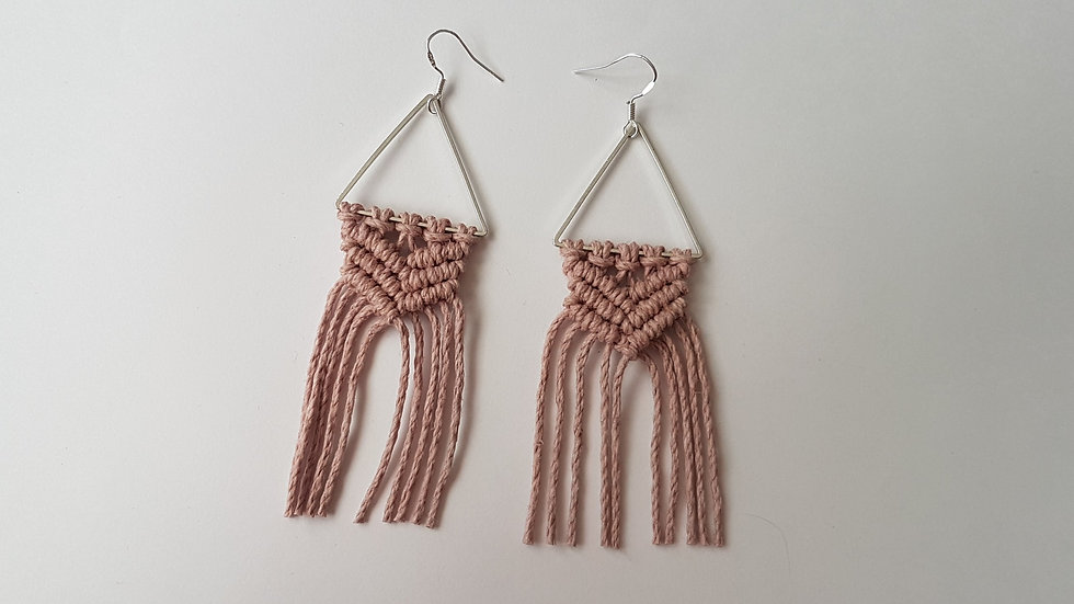 Dusky Pink Hemp Earrings on Triangle