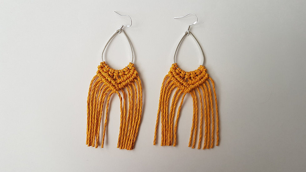 Mustard Hemp Earrings on Teardrop