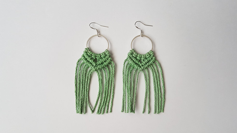 Green Earrings on small Circle