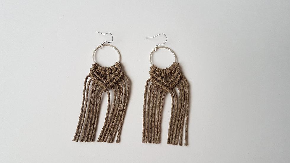 Olive Hemp Earrings on small Circle