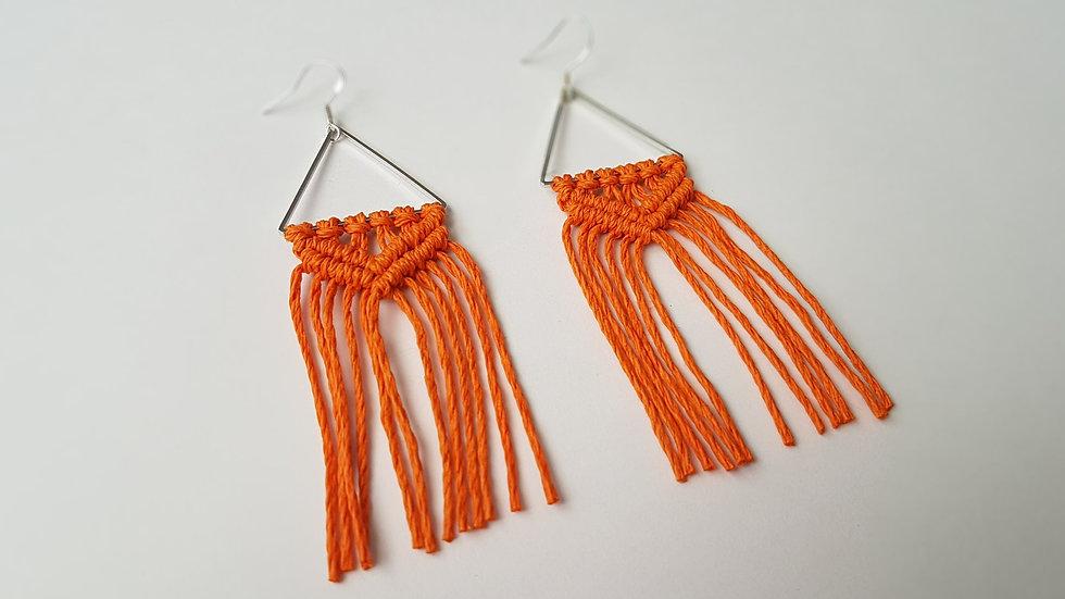 Orange Hemp Earrings on Triangle