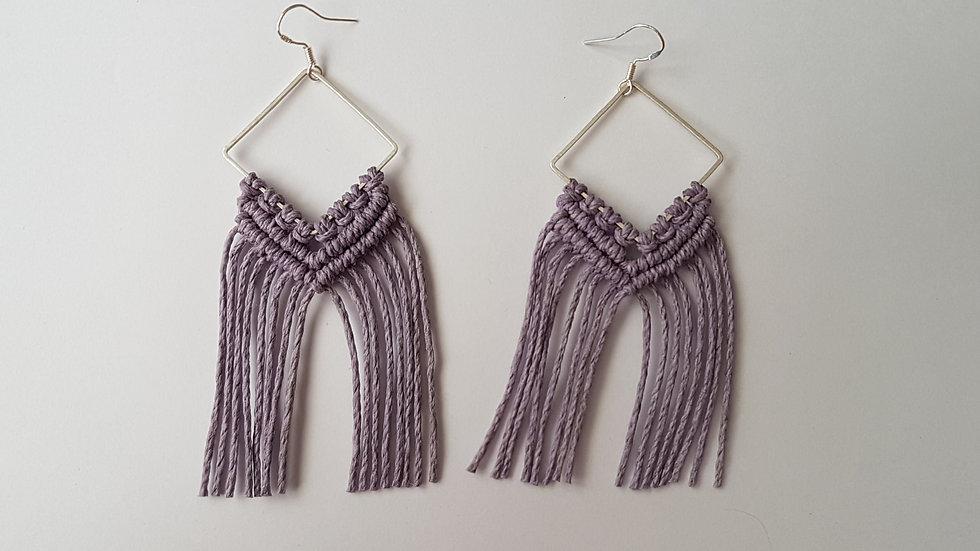 Lilac Hemp Earrings on Diamond