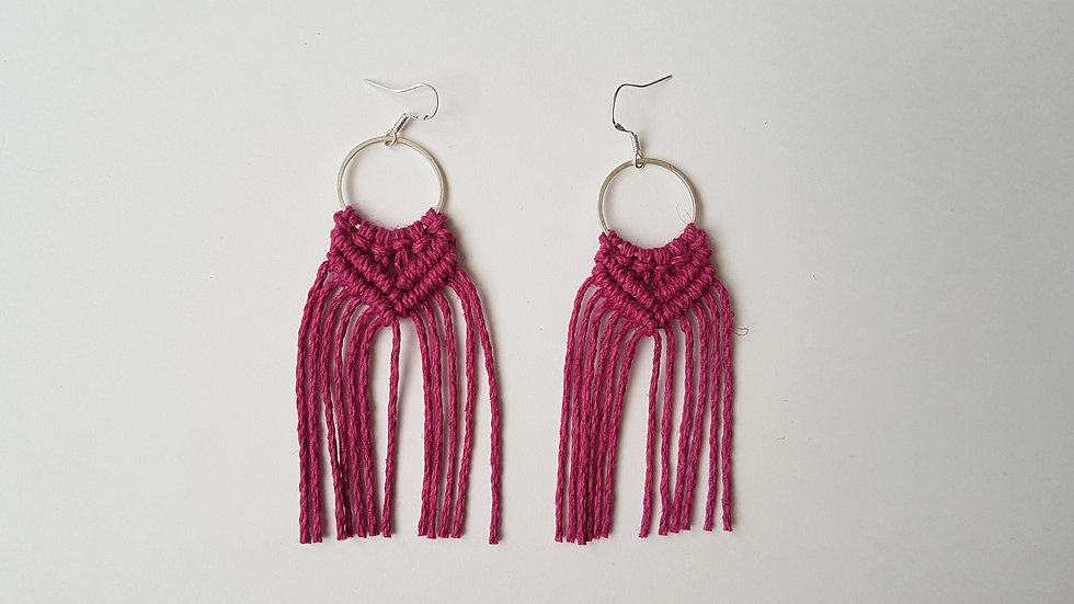 Magenta Hemp Earrings on small Circle