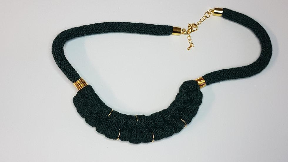 Serpentine Necklace Dark Green/ Gold