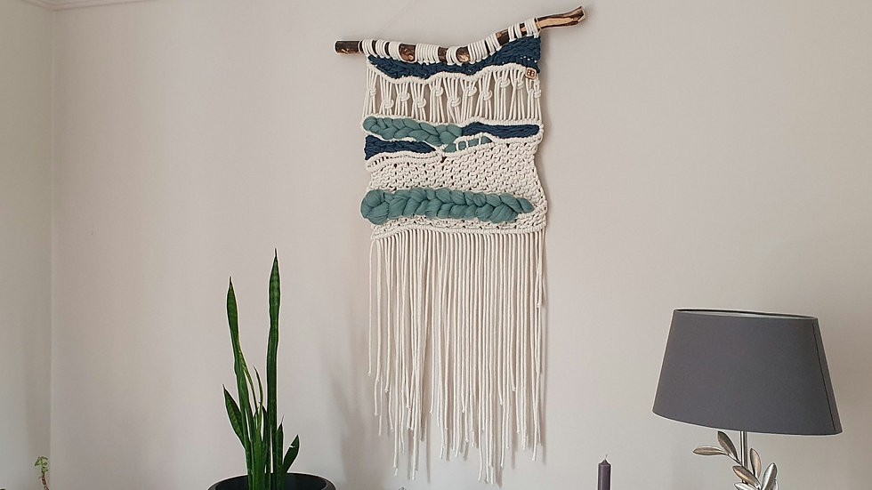 Teal woven wall hanging