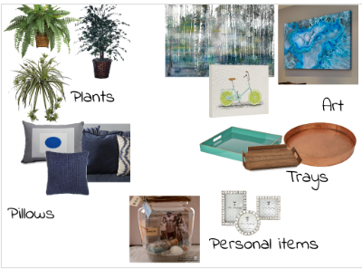 design board showing groupings of items that represent my top 5 accessories. Access Home Staging. Ottawa, Ontario