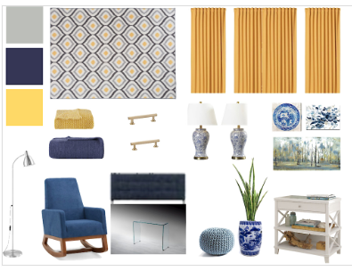 mood board for blue and white bedroom