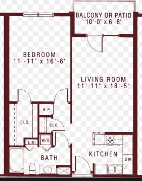 floor-plan for 1-bedroom apartment