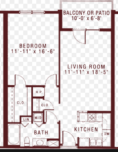 floor-plan for 1-bedroom apartment