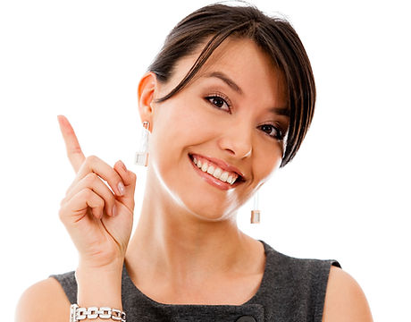 Businesswoman pointing an idea - isolated over a white background