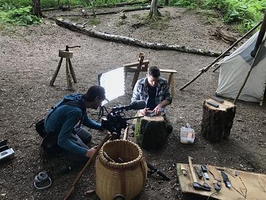 On set for Bushcraft using Canon