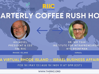 RI–Israel  Rush Hour Coffe Talk with Anat Katz, Newly Appointed Economic Minister to North America