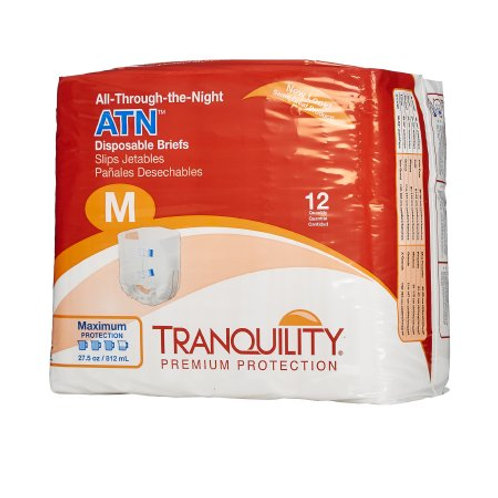 ATN Medium 12 Count Unisex Adult Incontinence Brief Tranquility®  Disposable