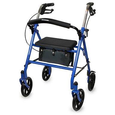 4 Wheel Rollator McKesson Blue Folding Steel Frame