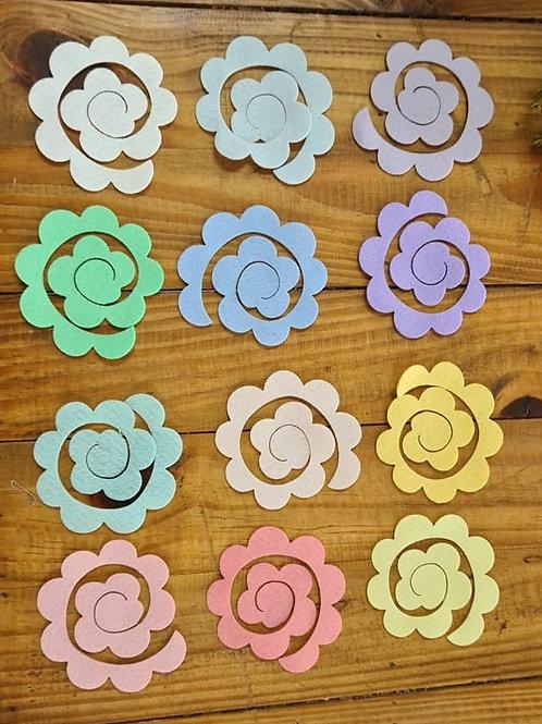 Rosa Aspiral Feltro Aplique 7 cm