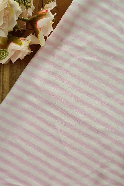 Plush listra média rosa bb e branco
