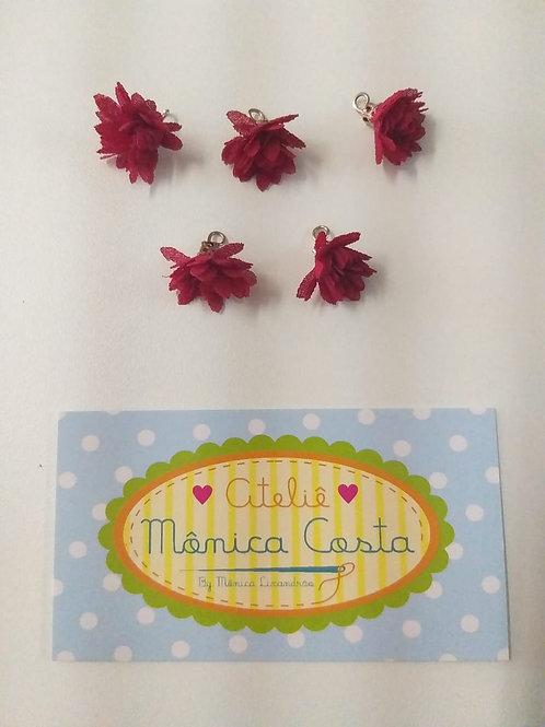 Flor Mini pingente tecido vermelha