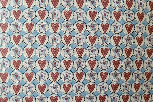 Tecido Coração e Estela Country - Azul suave