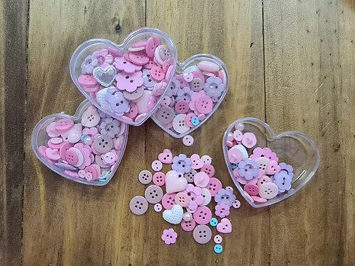 Coração Rosa recheado de botões